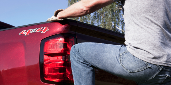 Unique steps incorporated into the corners of the rear bumper are designed to accommodate work...