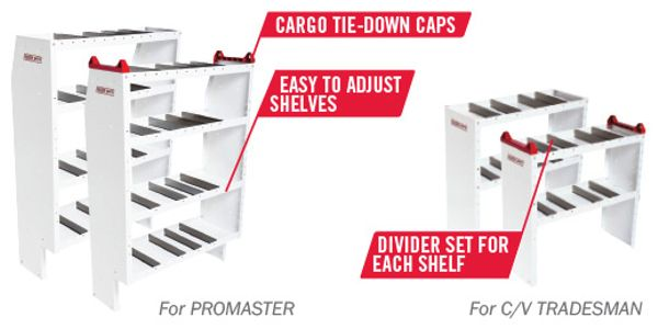 Weather Guard WorkZone and Starter van shelving systems