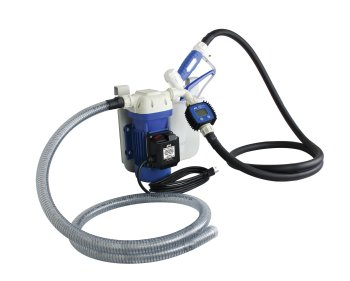 This complete system includes 6 foot intake and 8 foot output hoses, a digital flow meter and manual nozzle with integrated holster, hanging bracket, and all corrosion resistant fittings.  - Photo courtesy of Innovative Products of America
