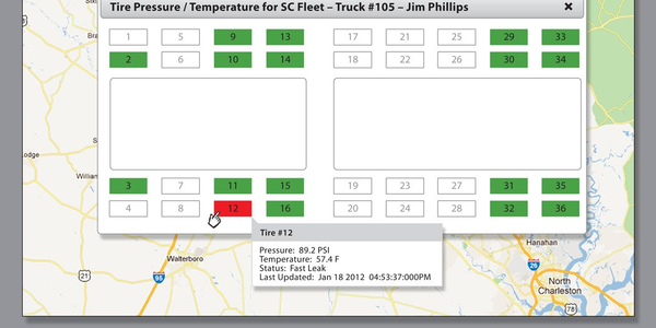 "In addition to TPMS information, the SafetyTrax website also provides a ""dashboard"" that shows..."