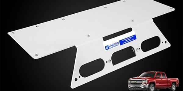 Photo of Chevrolet Silverado no-drill mounting plates courtesy of Larson Electronics